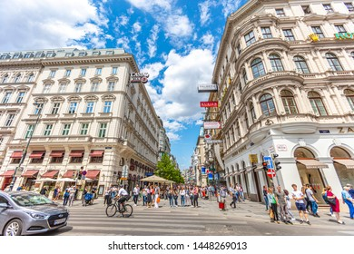 VIENNA, AUSTRIA - July 09 2019: crowded summer streets in the city center of Vienna, Austria.Vienna, Austria, Europe