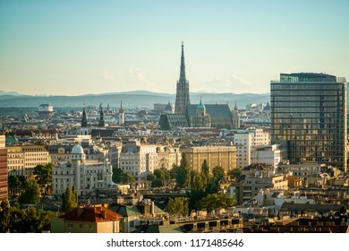 VIENNA, AUSTRIA, JULY 1, 2016: Cityscape of Vienna, St. Stephen's Cathedral at the background.