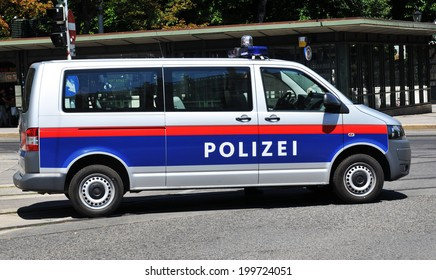 VIENNA, AUSTRIA - JULY 10, 2011: Local police car patrolling the streets of Vienna.