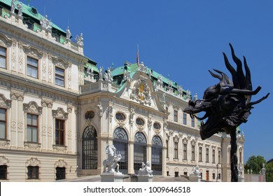 Vienna, Austria, July 10, 2016: Details of the facade of the palace Belvedere.