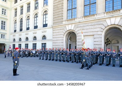 VIENNA, AUSTRIA - JULY 10, 2019: Honour Guard ceremony  at one of the entrances to the Hofburg Palace.   The Guard Battalion is a ceremonial unit in the Austrian Army.