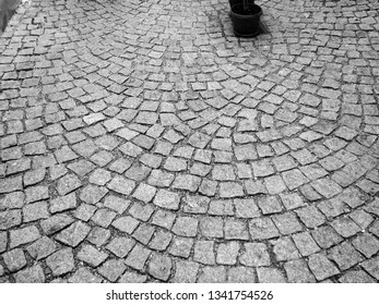 Vienna, Austria - July 12 2007: Close-up of a cobblestone road in Vienna. Background
