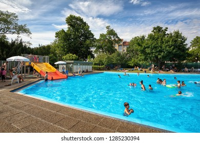 VIENNA, AUSTRIA - JULY 12, 2017. Outdoor Family pool in the city park Schweizergarten. Landstrasse district, Vienna, Austria