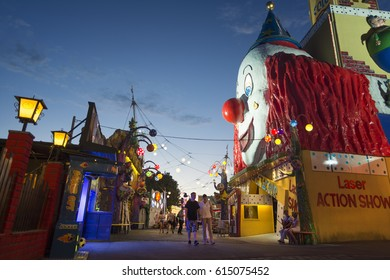 VIENNA, AUSTRIA, JULY 1,2016: Night shot from The Wurstelprater, an amusement park and section of the Wiener Prater (a park) in the second district of Vienna, Leopoldstadt.