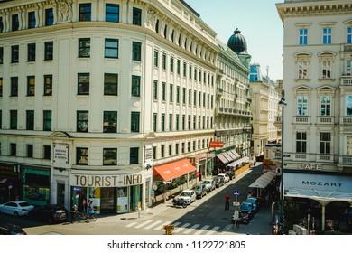 VIENNA, AUSTRIA - JULY 13, 2018: Old vintage building of tourist info in the citytown Helmut Zilk-Platz with Hotel Sacher near the State Opera at Vienna city center Austria.