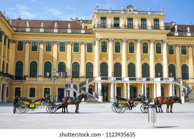 VIENNA, AUSTRIA - JULY 13, 2018: Front of the Schonbrunn Place, imperial residence in the afternoon located in Wien city Vienna, Austria.