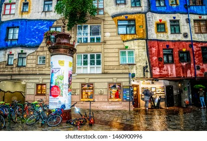 Vienna / Austria - July 13 2019: colorful bright house, designed by renowned Austrian architect Friedensreich Hundertwasser. The streets of ancient Vienna, the tourist attraction of Austria