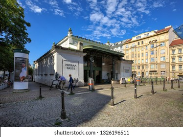 VIENNA, AUSTRIA - JULY 17, 2017. Entrance building of the Pilgramgasse metro station, designed by the famous architect Otto Wagner. Vienna, Austria.
