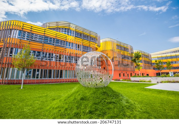 VIENNA, AUSTRIA - JULY 18, 2014:  New Campus WU, Vienna University of Economics and Business. Close to the Prater park and  Vienna exhibition centre, the campus features 6 buildings on 25 acres.
