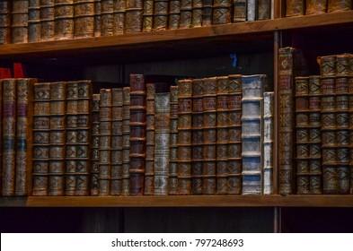 Vienna, Austria - July 20, 2017: Bookshelf in Austrian National Library