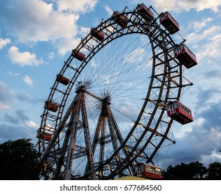 VIENNA, AUSTRIA, JULY, 2016: Close-up of the Prater giant wheel at evening, the main amusement park of Vienna, The Prater in the 2nd district.