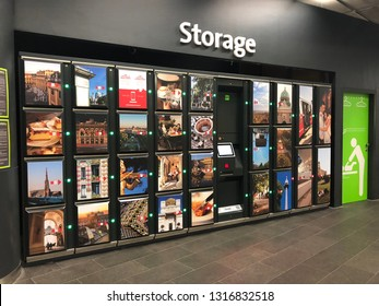 VIENNA, AUSTRIA - JULY 2018 : 30 luggage storage lockers provided for Vienna City Airport Train (CAT) customers, free of charge at Wien Mitte terminal station in Vienna, Austria on July 15, 2018
