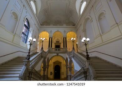 VIENNA, AUSTRIA - JULY 2018 : Beautiful interior of University of Vienna, called Universitaet Wien in Deutsch, public university in Vienna, Austria on July 17, 2018.