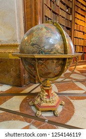 VIENNA, AUSTRIA - JULY 2018 : Big Globe in hall of Austrian National Library in Vienna, Austria on July 17, 2018. It is the largest library in Austria.
