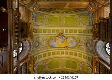 VIENNA, AUSTRIA - JULY 2018 : Ceiling frescoes painting, allegory of peace heaven by Daniel Gran at Austrian National Library in Vienna, Austria on July 17, 2018. It's the largest library in Austria.