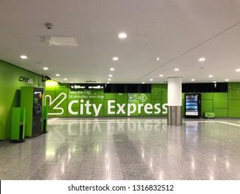 VIENNA, AUSTRIA - JULY 2018 : Vienna City Airport Train (CAT) transfer terminal situated in the Wien Mitte station, Landstrasse district in Vienna, Austria on July 15, 2018
