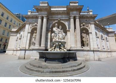 VIENNA, AUSTRIA - JULY 2018 : Danubius Fountain, called Danubiusbrunnen in German, at Albertina Museum in Vienna, Austria on July 17, 2018. Fountain by Austrian sculptor Johann Meixner
