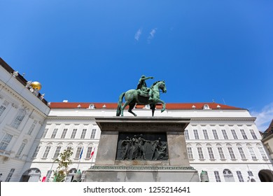 VIENNA, AUSTRIA - JULY 2018 : Equestrian statue of Holy Roman Emperor Joseph II riding a horse in Josefsplatz Square, Hofburg Palace in Vienna, Austria on July 17, 2018.
