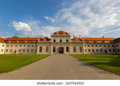 VIENNA, AUSTRIA - JULY 2018 : Exterior of Lower Belvedere palace and museum in Vienna, Austria on July 15, 2018. It is one of UNESCO World Heritage Site for Baroque architecture and interiors.