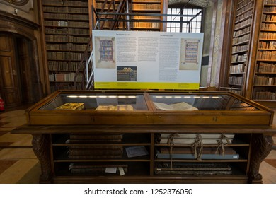 VIENNA, AUSTRIA - JULY 2018 : Interior of Austrian National Library in Vienna, Austria on July 17, 2018. It is the largest library in Austria.