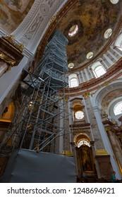 VIENNA, AUSTRIA - JULY 2018 : Lift, elevator to the cupola inside St. Charles Church, Karlsplatz in Vienna, Austria on July 15, 2018. It's called Karlskirche in Deutsch.