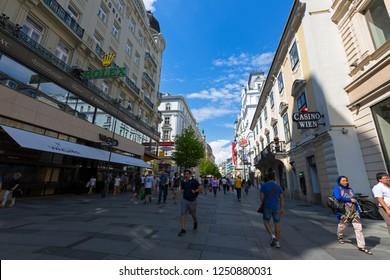 VIENNA, AUSTRIA - JULY 2018 : People walking on Kaerntner Strasse street in First District of Vienna Inner City in Austria on July 16, 2018.