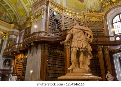 VIENNA, AUSTRIA - JULY 2018 : Statue of Emperor Charles VI in hall of Austrian National Library in Vienna, Austria on July 17, 2018. It is the largest library in Austria.