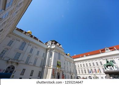 VIENNA, AUSTRIA - JULY 2018 : Statue of Holy Roman Emperor Joseph II riding a horse in Josefsplatz Square, Hofburg Palace in Vienna, Austria on July 17, 2018.