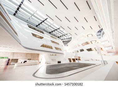 Vienna, Austria, July 2019: the modern, futuristic white interior in library of the   Economic University of Vienna