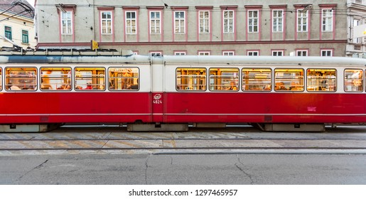 VIENNA, AUSTRIA - JULY 21, 2009:  historic tram operates on late afternoon in Vienna. On January 28, 1897, an electric tram operated for the first time in Vienna on the tracks of todays line 5.