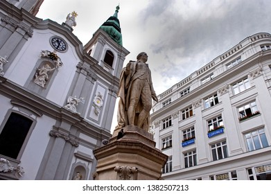 Vienna/ Austria - July 22 2011: Statue of the musician Franz Joseph Haydn in front of the baroque church Mariahilf
