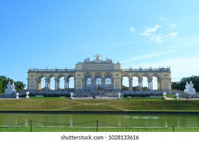 VIENNA, AUSTRIA - JULY 23, 2017: View on Gloriette in Schoenbrunn Palace Garden, Vienna, Austria