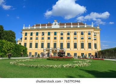 VIENNA, AUSTRIA - JULY 23, 2017: Schonbrunn Palace in Vienna, Austria. Schonbrunn Palace building is one of the most popular tourist attractions in Vienna.