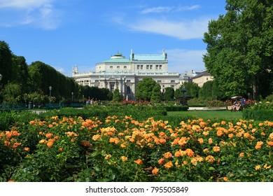 VIENNA, AUSTRIA - JULY 23, 2017:View of Burgtheater, the Austrian National Theater on Volksgarten park in Vienna, Austria.