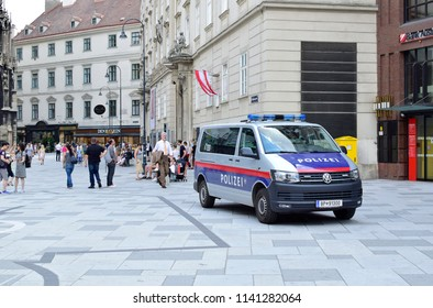 VIENNA, AUSTRIA - JULY 24, 2018: A police car at Stephansplatz, the central historical square in Vienna.