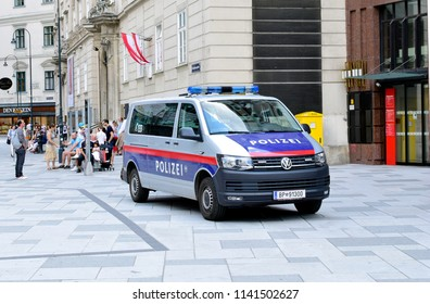 VIENNA, AUSTRIA - JULY 24, 2018: Austrian police car. Minivan type.