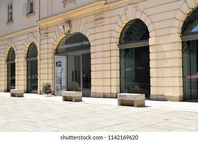VIENNA, AUSTRIA - JULY 24, 2018: Architekturzentrum Wien (Eng. Vienna Architecture Center) at Museumsquartier (MQ), an area with museums and exhibition halls in Vienna