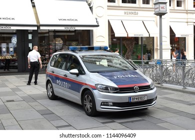 VIENNA, AUSTRIA - JULY 28, 2018: Austrian police car at Graben, a famous street at Vienna city center