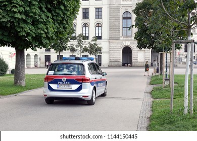 VIENNA, AUSTRIA - JULY 28, 2018: Austrian police car patrolling at Heldenplatz, a square at Vienna city center