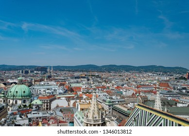 Vienna, Austria - July, 28, 2018: Panorama of Vienna from the tower of St. Stephen's Cathedral. Historical Center.