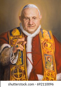 VIENNA, AUSTRIA - JULY 30, 2014: The portrait of St. John XXIII in church Karlskirche (Charles Borromeo) by Clemens Fuchs (2014).
