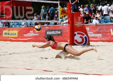 Vienna, Austria - July 30, 2017. Pool match between Sarah PAVAN, Melissa HUMANA-PAREDES (CAN) and Marta MENEGATTI, Rebecca Diane PERRY (ITA) at the FIVB Beach Volleyball World Championships in Vienna.
