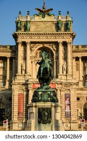 VIENNA, AUSTRIA - JULY 31, 2018: Vienna is the federal capital and largest city of Austria. Monument of Prince Eugene of Savoy in Heldenplatz on the background of Hofburg,