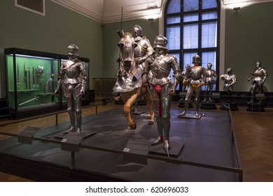 VIENNA, AUSTRIA, JULY 3,2016: Armoured knights with horses on display from Collection of Arms and Armour section of Kunsthistorisches Museum (Museum of Art History).