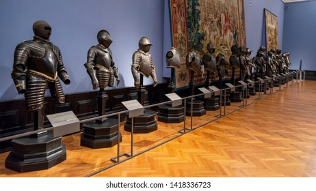 VIENNA, AUSTRIA, JULY 3,2016: Medieval armours on display inside Collection of Arms and Armour section of Kunsthistorisches Museum (Museum of Art History), Vienna, Austria.