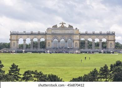 VIENNA, AUSTRIA, JULY 4,2016: Exterior shot of Gloriette inside the Schonbrunn Palace Garden, Vienna, Austria