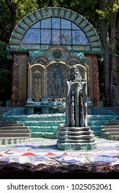 Vienna, Austria - July 6 2017: Ernst Fuchs-Museum (Otto-Wagner-Villa), garden pavilion.