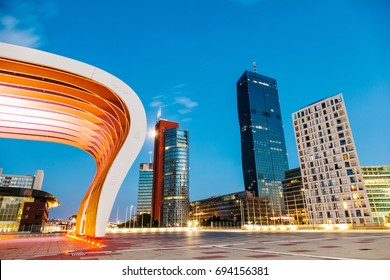 Vienna, Austria July 6 2017: Modern Danube City skyscrapers at dusk in Vienna Austria