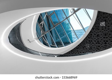 "VIENNA, AUSTRIA - JULY 6: Oval window in the roof of the shopping centre ""The Mall"" shown on 6 July 2013 in Vienna. ""The Mall"" by architects Ortner & Ortner is part of the Wien Mitte Centre."
