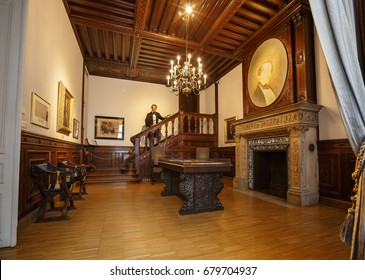 VIENNA, AUSTRIA - JULY 7, 2017. Interior of the Museum of Music with a wax sculpture of founder of the Vienna Philharmonic Otto Nicolai.
